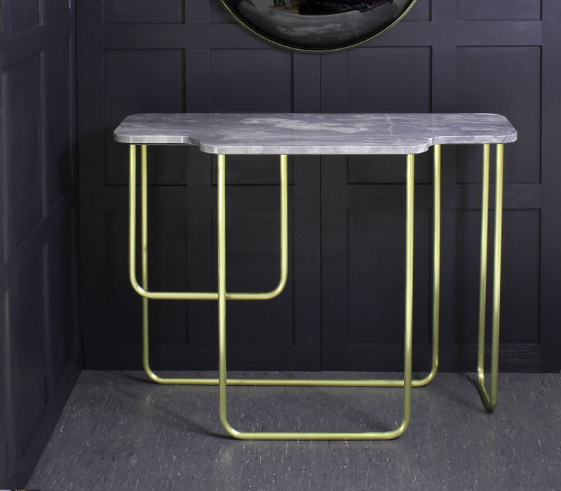 T59 Table with brushed brass asymmetric legs and marble top