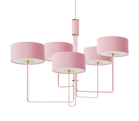 T59 Quintet Chandelier in Miami Pink